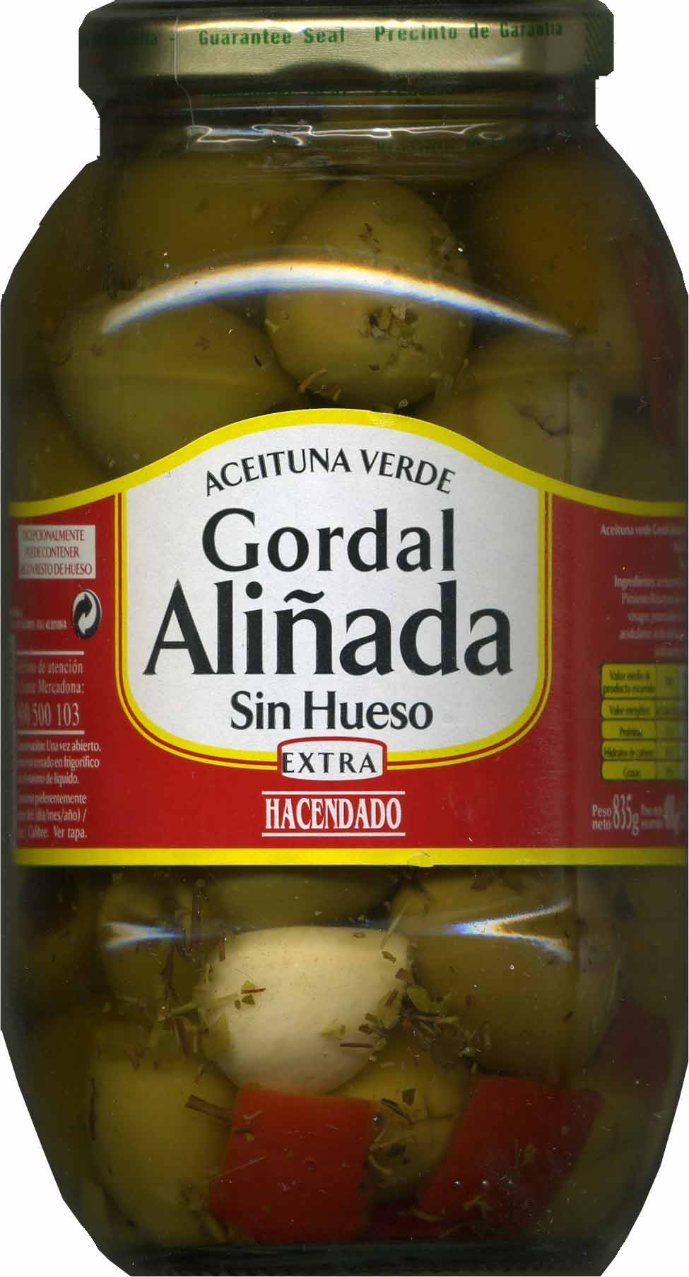 Aceitunas verdes gordal sin hueso - Producte