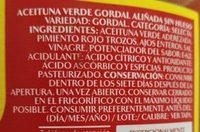 Aceituna verde gordal aliñada - Ingredientes - es
