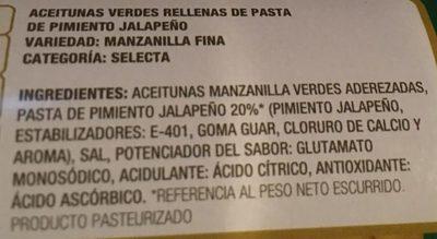 Aceitunas Manzanilla Rellenas de Jalapeño - Ingredientes