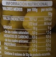 Aceitunas sin hueso - Nutrition facts - es