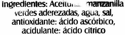 """Aceitunas verdes deshuesadas """"Hacendado"""" Variedad Manzanilla - Ingrediënten"""