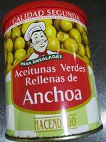 Aceitunas verdes rellenas de anchoa - Producto