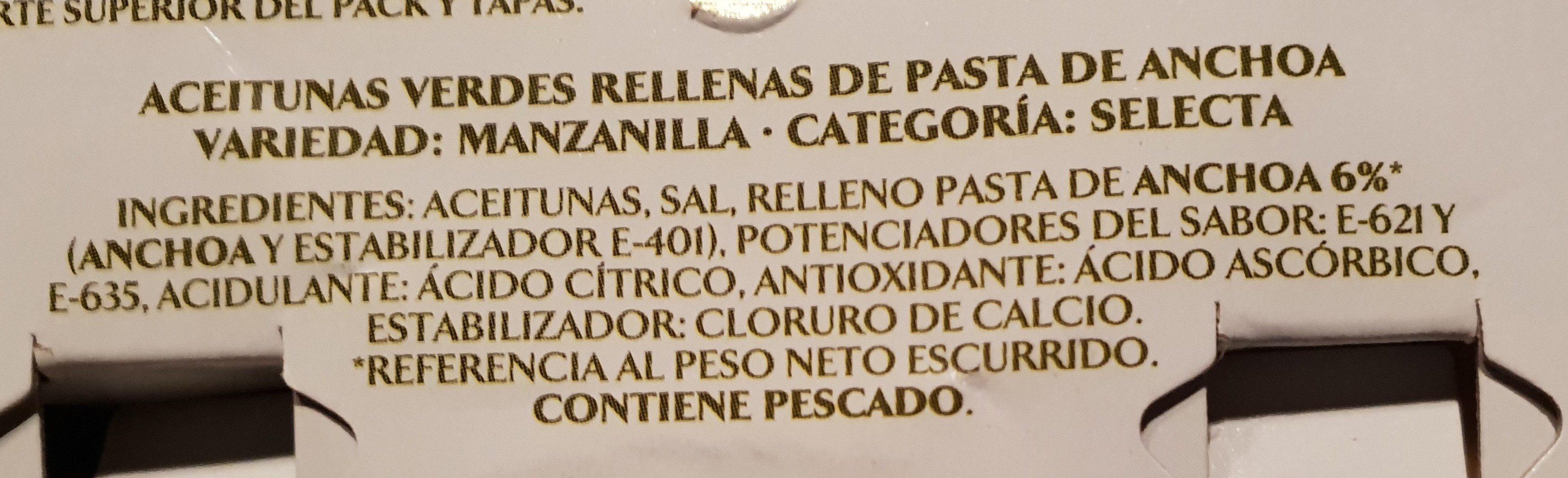 Aceitunas manzanilla rellenas de anchoa - Ingredientes - es