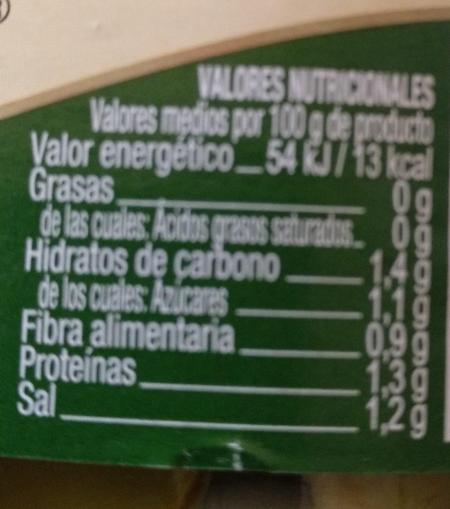 Aliñados Temperados - Pepinillos - Información nutricional