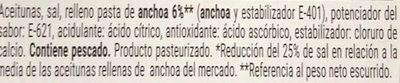 Aceitunas verdes rellenas anchoa reducida en sal - Ingrediënten - es