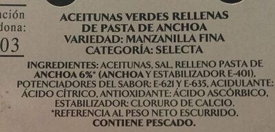 Aceitunas Verdes Rellenas De Anchoa - Categoria Selecta - Ingredientes - es