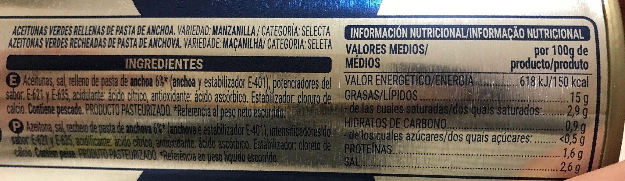 Aceitunas Verdes Rellenas De Anchoa - Categoria Selecta - Voedingswaarden