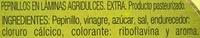 Pepinillos agridulces laminados - Ingredientes - es
