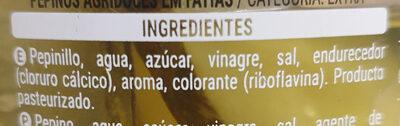 pepinillos agridulces - Ingredients - es