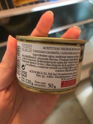 Aceitunas negras rodaja - Ingrédients