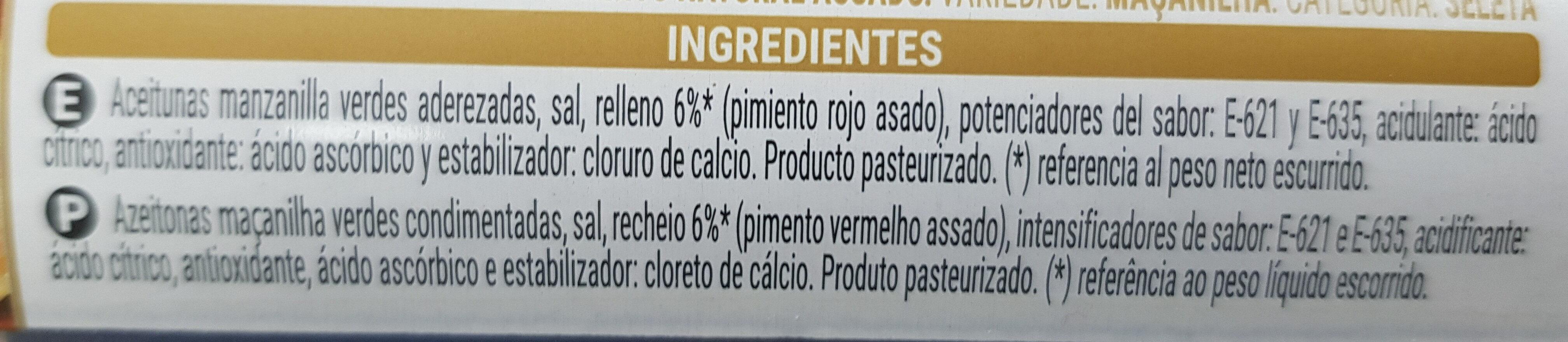 Aceitunas Verdes Rellenas De Pimiento Rojo Asado - Ingredientes - es