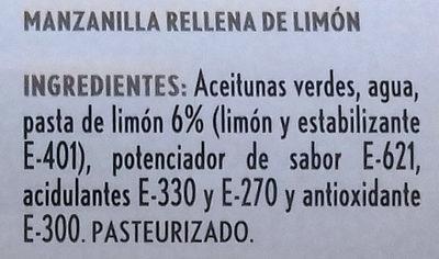 Aceitunas rellenas limón - Ingredients