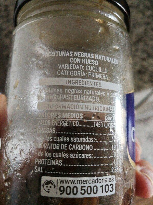 Cuquillo Con Hueso Aceituna Negra Natural\ - Ingredients - es