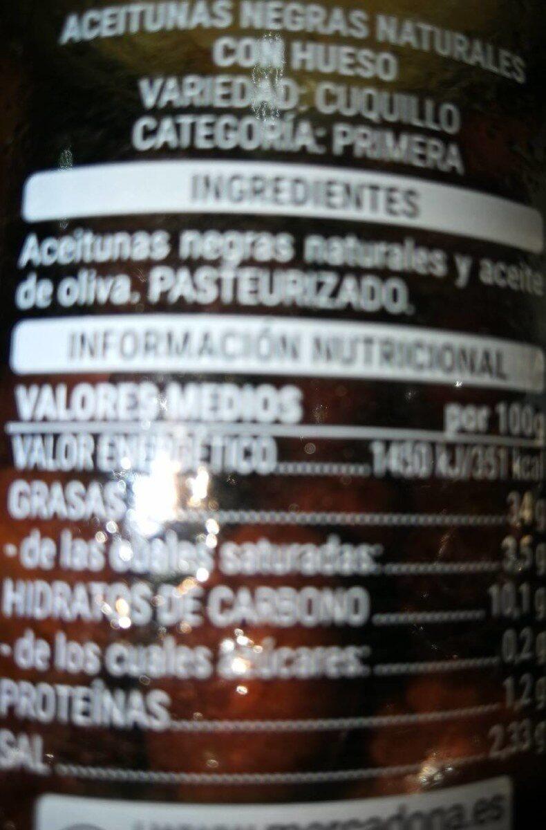 Cuquillo Con Hueso Aceituna Negra Natural\ - Informació nutricional - es