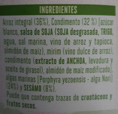 Algas Con Aroz Crujiente - Ingredientes