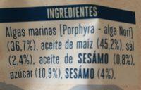 Algas con semillas de sésamo - Ingredients
