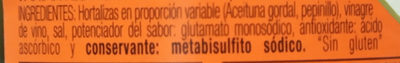 Aceitunas Gordales con Pepinillo en vinagre - Ingredients