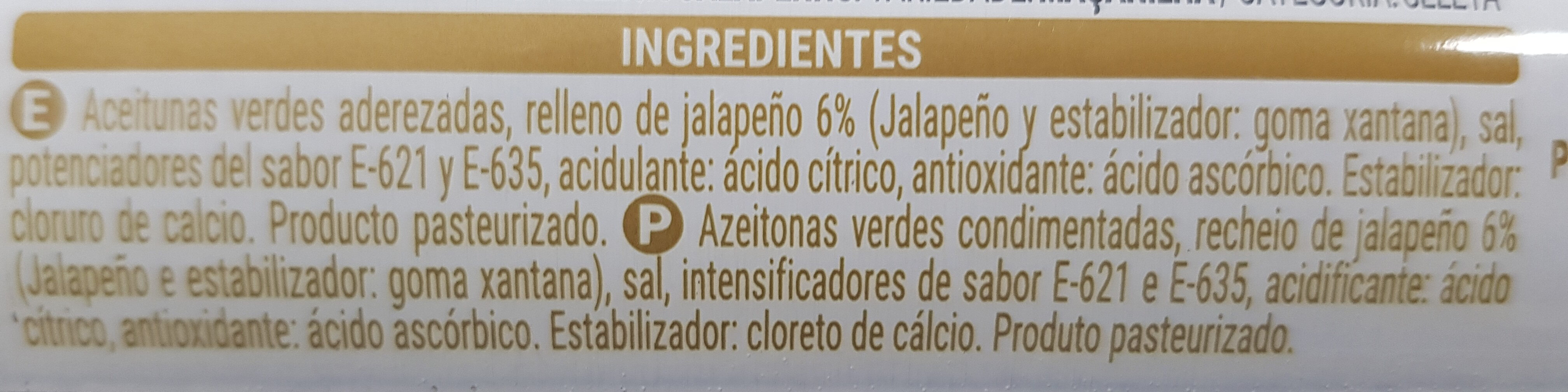Aceitunas Verdes Rellenas De Jalapeño - Ingredientes - es