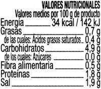 Alcaparrones encurtidos - Informació nutricional
