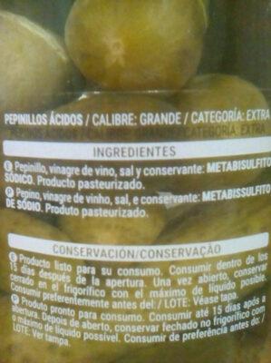 Pepinillos extra en vinagre - Ingrédients - es