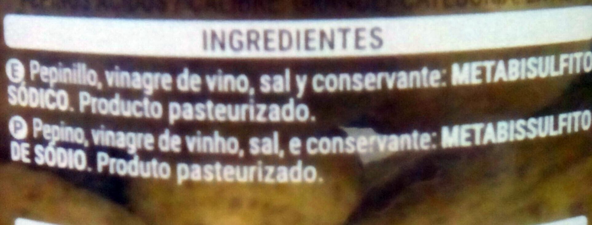 Pepinillos en vinagre - Ingredients - es