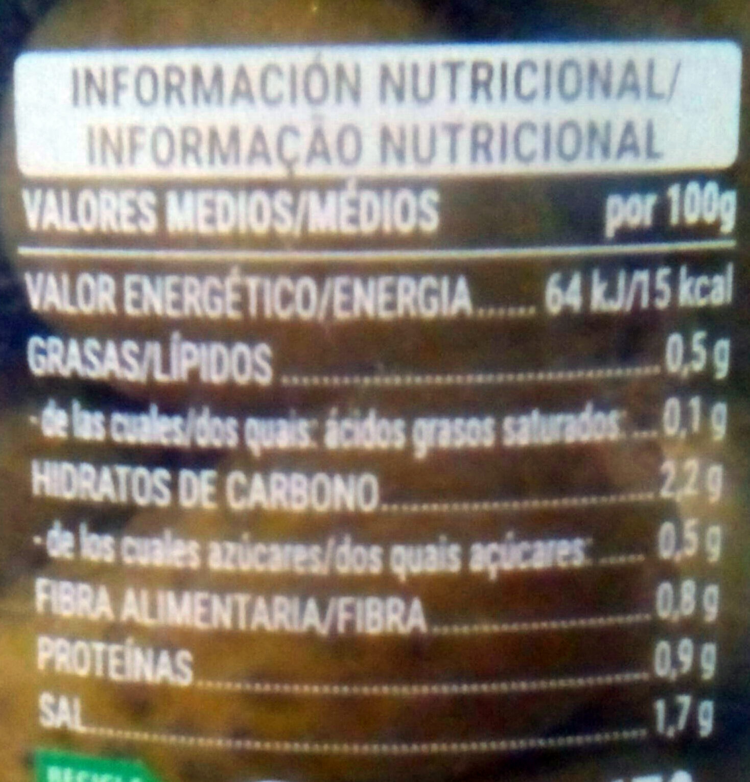 Pepinillos en vinagre - Nutrition facts - es