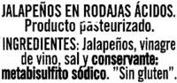 Jalapeños picantes - Ingredients - es