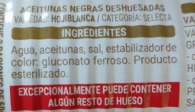 Aceitunas negras sin hueso - Ingredienti - es