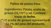 Palitos de patata - Ingredientes