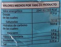 Patatas fritas bajo contenido en sal - Información nutricional
