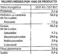 """Patatas fritas lisas """"Hacendado"""" en aceite de oliva - Informació nutricional"""