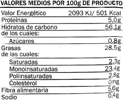 Patatinas extra crujientes - Nutrition facts - es