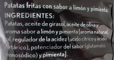 Patatas fritas sabor limon & pimienta - Ingredientes