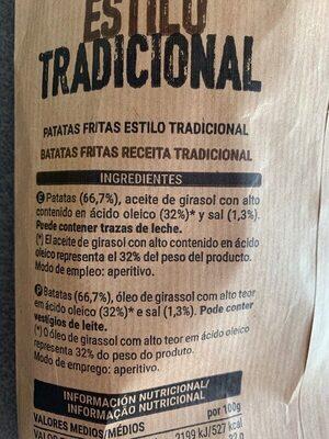 Patatas fritas tradicionales - Ingrédients - es