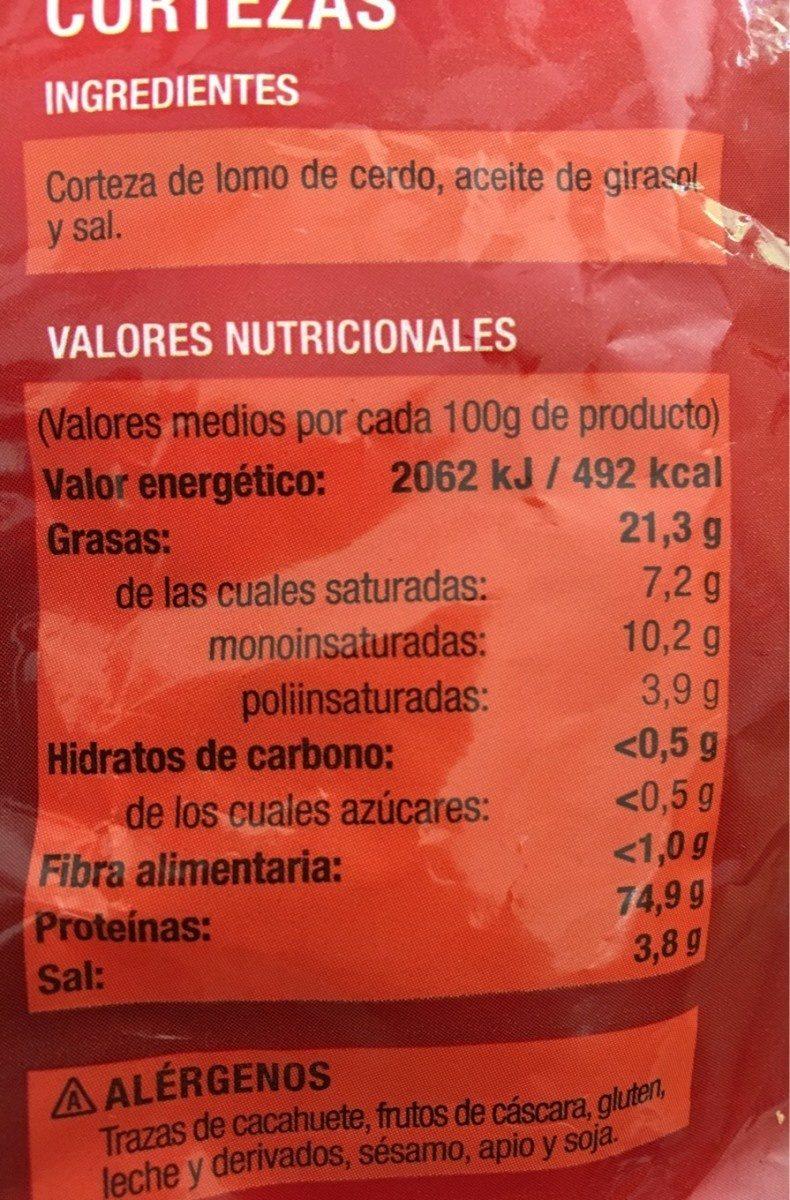 Cortezas - Información nutricional