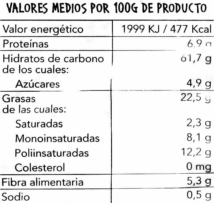 Snacks 5 cereales - Informació nutricional - es