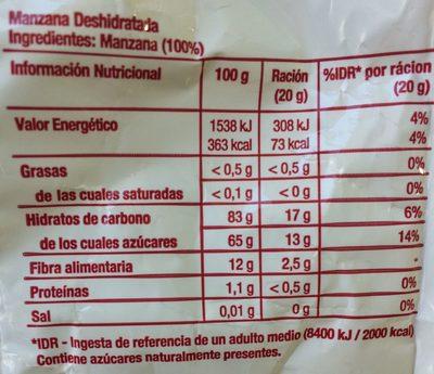 Manzana roja 100% natural - Informació nutricional