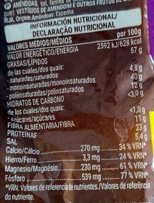 Almendra con piel tostada sal - Informació nutricional - es