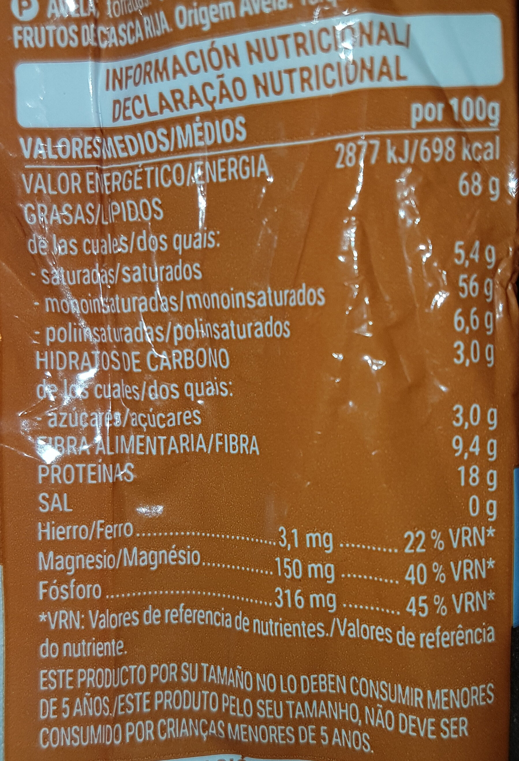 Avellana tostada sin sal - Informació nutricional
