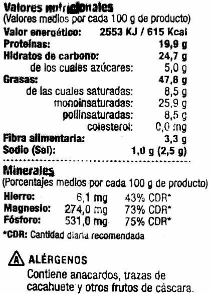 Anacardo frito - Nutrition facts - es