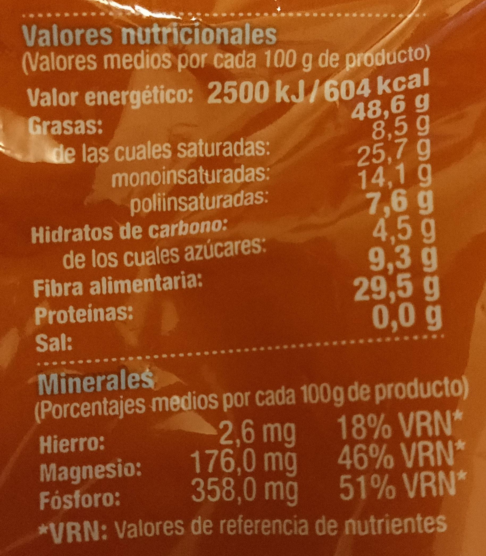 Cacahuete tostado 0% sal añadida - Información nutricional