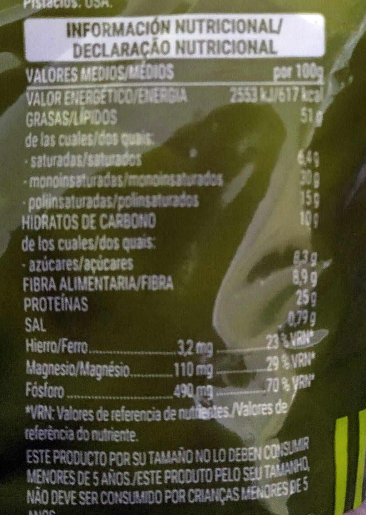 Pistacho tostado - Informations nutritionnelles - es