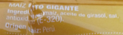 Maíz Gigante Frito - Ingredientes