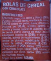 bolas de cereal - Ingredients