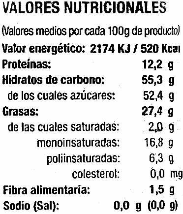 Almendras garrapiñadas - Nutrition facts - es
