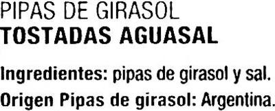 Semillas de girasol con cáscara tostadas aguasal - Ingredientes