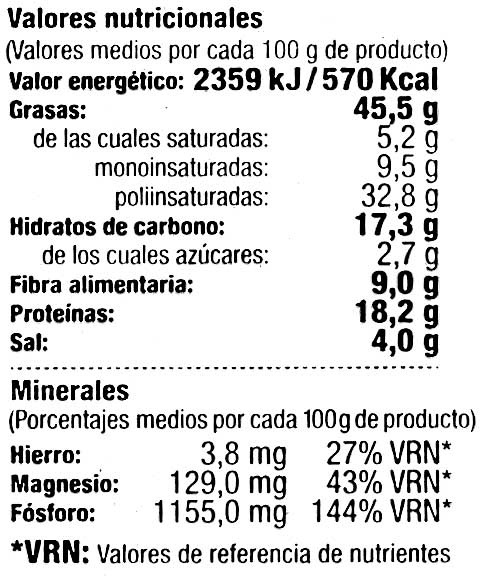 Pipas aguasal - Nutrition facts - es