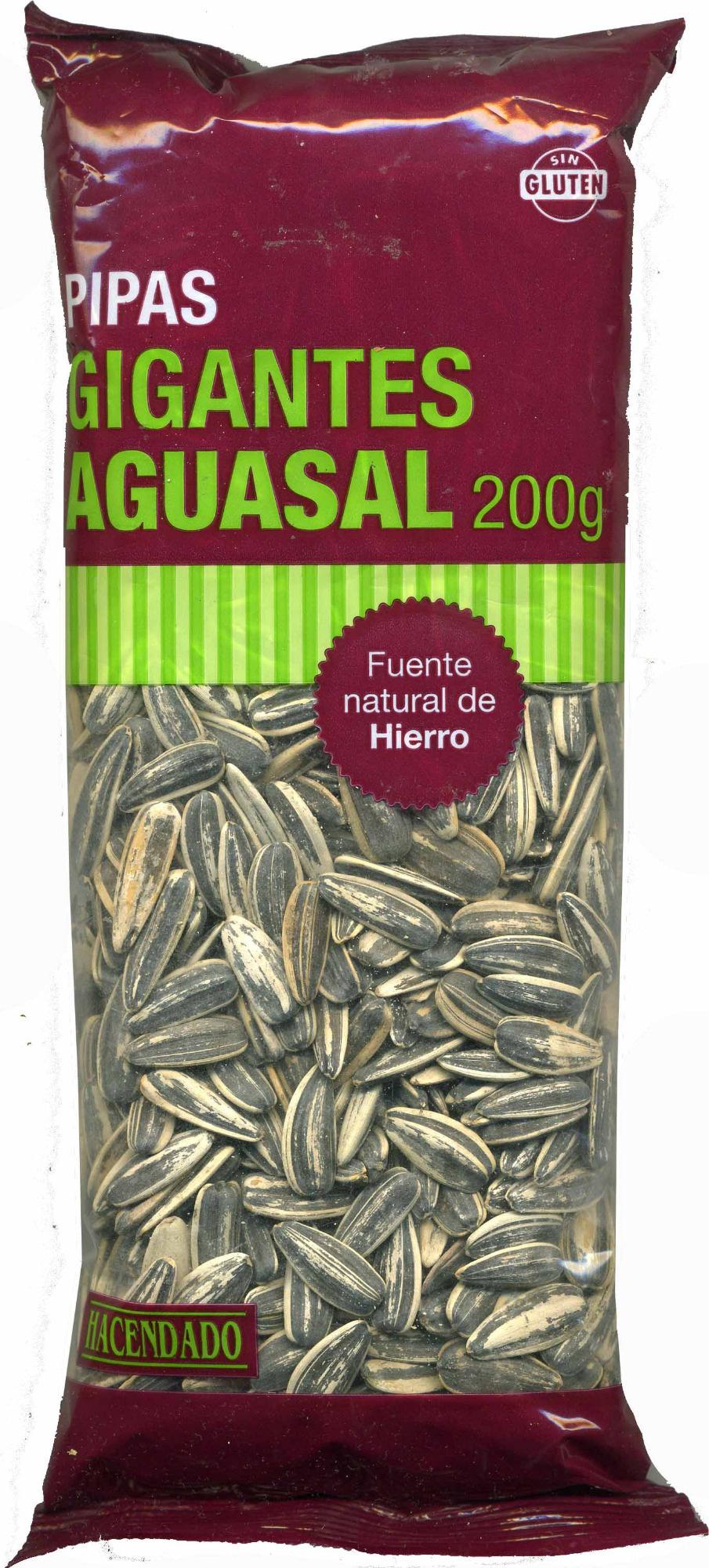 Semillas de girasol con cáscara tostadas aguasal Gigantes - Producto