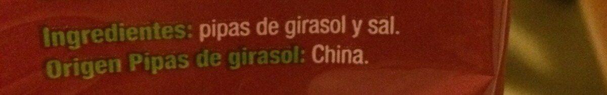 Semillas de girasol con cáscara tostadas aguasal Gigantes - Ingrédients