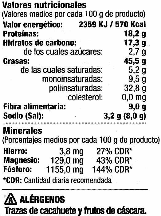 Semillas de girasol con cáscara tostadas con sal Gigantes - Información nutricional
